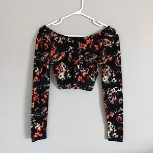 Xhilaration Floral Crop Top Small